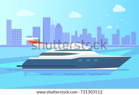 luxurious modern yacht stand