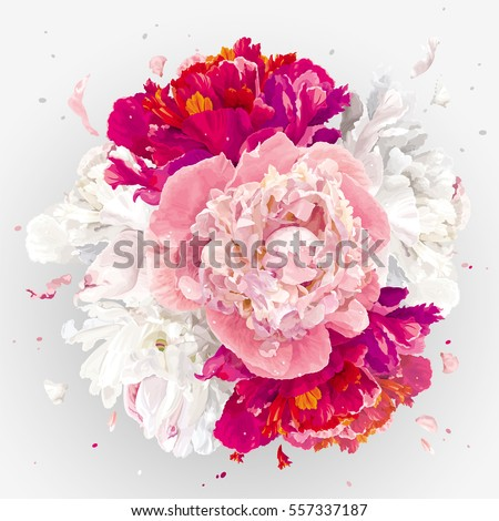 Luxurious pink, red and white peony flower spherical composition for wedding decoration, Valentine's Day, sales and other events #557337187