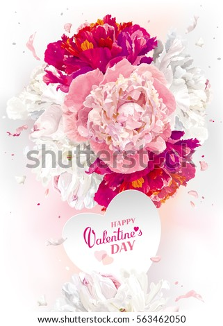Luxurious pink, red and white peony Valentine's Day greeting card with a heart paper label  #563462050