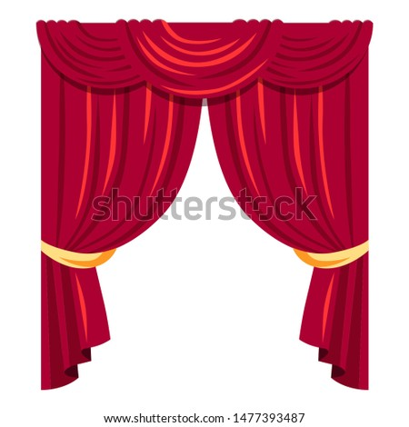 Luxurious red curtains flat vector illustration. Classic victorian style velvet drapes with lambrequin. Old fashioned elegant window dressing. Cinema theater, opera house stage decorative draping