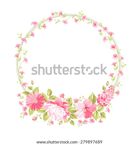 Luxurious vintage card of circle floral label. Vector illustration.