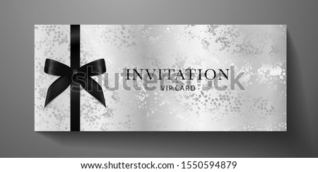 Luxurious VIP Invitation template with black bow, ribbon on silver textured background. Premium class design for Gift certificate, Voucher, Gift card