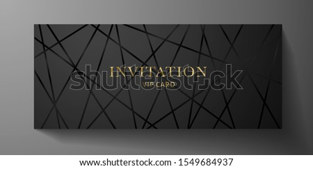 Luxurious VIP Invitation template with black lines on background and gold (golden) text. Premium class design for Gift certificate, Voucher, Gift card