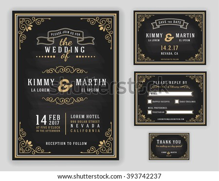 Luxurious wedding invitation on chalkboard background. Include Invitation, RSVP card, Save the date, Thank you card. Vector illustration
