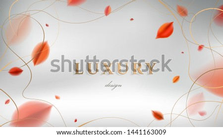 Luxury abstract Fall background with red autumn leaves and golden frame elegant decoration vector design