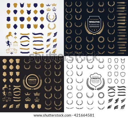 Luxury and Crest logo element with Crown, Wing, Emblem, Wing, Ribbon, Lion, Heraldic Monogram in Vintage style design elements.