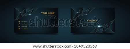 Luxury and elegant dark black navy business card design with gold style minimalist print template Photo stock ©