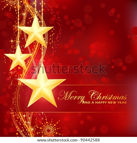 Luxury and festive red golden Merry Christmas and a happy New Year background with stars, snow flakes,  wavy pattern and out of focus light dots for your festive occasions. EPS10