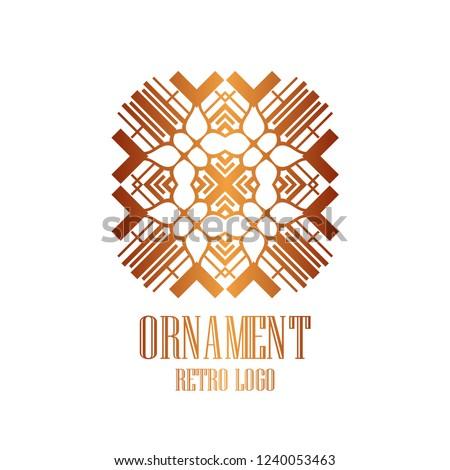 Luxury antique art deco minimal geometric vintage linear vector logo, badge