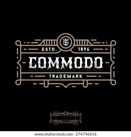 Luxury art deco monochrome  vector hipster minimal geometric vintage linear frame , border , label ,  badge for your logo or crest