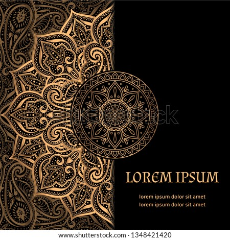 Luxury background vector. Islamic paisley mandala royal pattern card template. Ethnic design for Ramadan, Christmas party, New year holiday, beauty spa salon, wedding invitation, save the date.