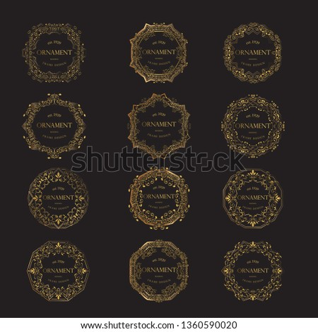 Luxury Background with Gold Color. templates with design element ornament, label, logo. made with golden luxury flower on ornament background