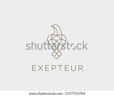 Luxury bird, eagle, hawk vector line logo design. Universal premium falcon symbol logotype.