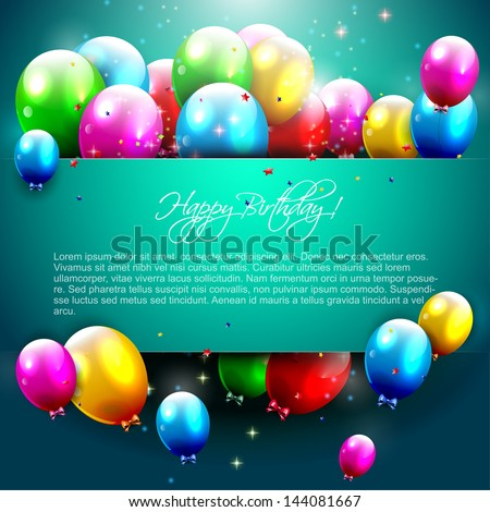 ShutterStock Luxury birthday background with colorful balloons and ...