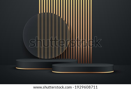 Luxury black and gold round podium with transparent glass and vertical golden stripes background.  Abstract vector rendering 3d shape for advertising products display. Minimal scene studio room.