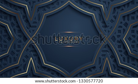 Luxury black background with a combination glowing golden with 3D style. Abstract black papercut textured background with shining golden halftone pattern.
