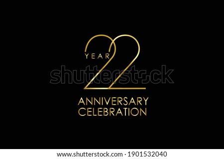 Luxury Black Gold 22 years anniversary, minimalist logo years, jubilee, Ribbon greeting card. Birthday invitation. Gold space vector illustration on black background - Vector Сток-фото ©
