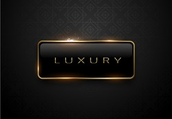 Luxury black label with golden frame sparks on black background. Dark premium logo template. Vector illustration