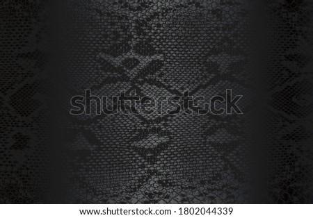 Luxury black metal gradient background with distressed crocodile, snake, alligator skin leather texture. Vector illustration