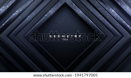 Luxury black square frames with silver glitters. Abstract geometric background. Vector 3d illustration. Concentric rectangle shapes. Elegant cover design