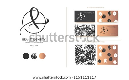 Luxury brand line logo with calligraphic uppercase A or lowercase f, l, e letter combination in a circle. Classic style branding templates. Business cards and used seamless patterns included Stock fotó ©