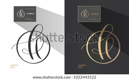 Luxury brand line logo with calligraphic uppercase H or lowercase f, l, e letter combination in a circle. Classic style branding templates. Business cards and used seamless patterns included