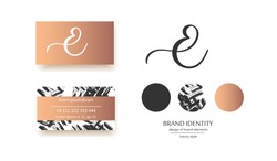 Luxury brand line logo with uppercase E letter. Classic style branding templates. Business cards and used seamless patterns included