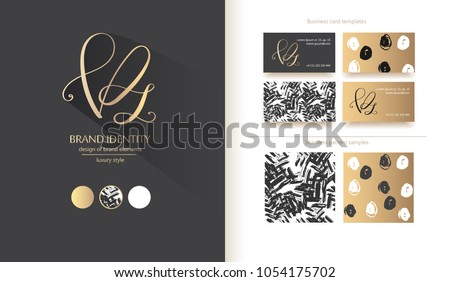 Luxury brand line logo with V, P and z   letters combination. Classic style branding templates. Business cards and used seamless patterns included