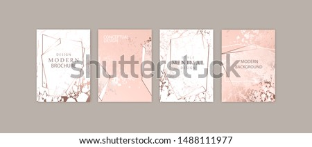 Luxury brochure, cover, wedding card template. Rose gold marble texture, geometric frame.