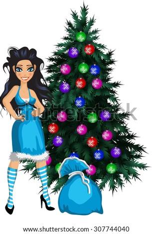 luxury brunette in blue new