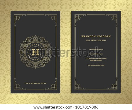 stock-vector-luxury-business-card-and-golden-vintage-ornament-logo-vector-template-retro-elegant-flourishes