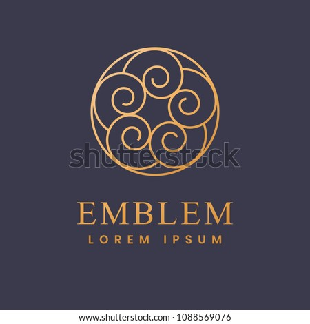 Luxury, Business, Royal, Decoration, Boutique Logo. Interior Icon. Fashion, Jewelry, Beauty Salon, Hotel Logo. Cosmetics, Spa Logo. Resort and Restaurant Logo. Ornament emblem.