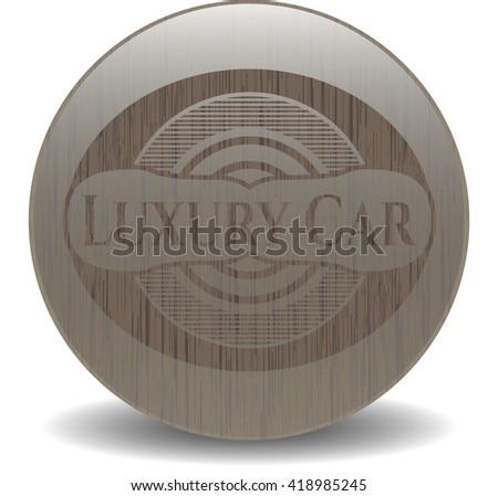 Luxury Car retro style wooden emblem
