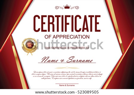 Luxury certificate or diploma template