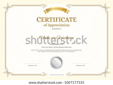 elegant diploma certificate of appreciation template download free