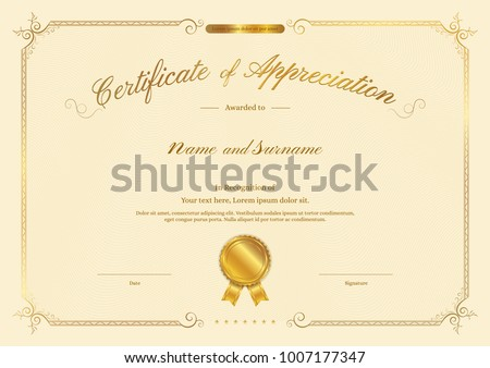 Vector diploma certificate template download free vector art luxury certificate template with elegant border frame diploma design for graduation or completion yadclub Images