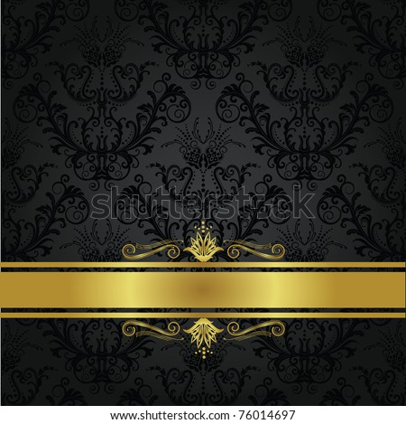 Luxury charcoal and gold gothic book cover. Can be used as a seamless wallpaper.
