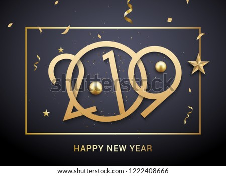 Luxury Christmas golden 2019 typography. New Year background decoration holiday greeting card 2019.
