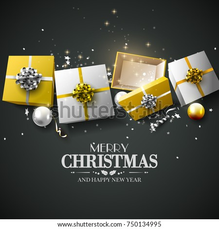 Luxury Christmas greeting card with gold and silver gift boxes and stars