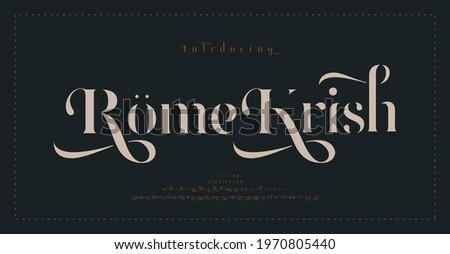 Luxury classic alphabet letters font and number. Typography elegant wedding lettering serif fonts decorative vintage retro concept. vector illustration