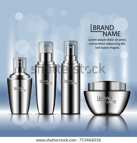 Luxury cosmetic ads template poster with metallic bottles and skin care cream for sale on blue background. Vector 3d illustration for design  placard, presentation, banners and cover. #753466036