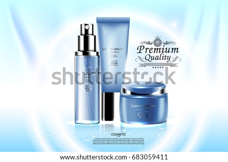 Luxury cosmetic Bottle package skin care cream, Beauty cosmetic product poster, with Blinds background #683059411
