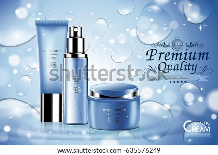 Luxury cosmetic Bottle package skin care cream, Beauty cosmetic product poster, with Bokeh background #635576249