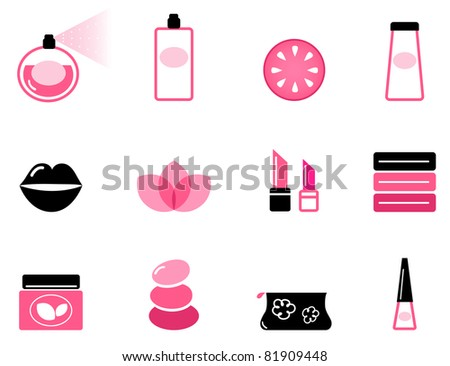 Luxury cosmetic icons and graphic elements ( pink & black ) Vector set or collection of beauty icons isolated on white.