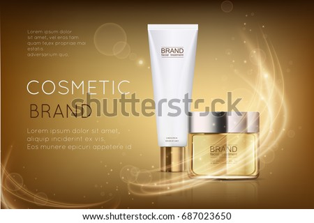 Luxury cosmetic magazine template for ads, gold cosmetic jar and white tube mockup for moisturizing cream, premium makeup product on a shiny golden background