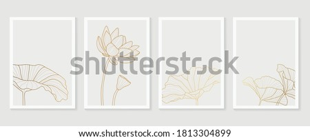 Luxury cover design template. Lotus line arts hand draw gold lotus flower and leaves. Design for packaging design, social media post, cover, banner, Wall arts, Gold geometric pattern design vector