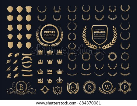 Luxury Crest logo element with Crown, Wing, Emblem, Heraldic, Monogram in Vintage style. Foto d'archivio ©