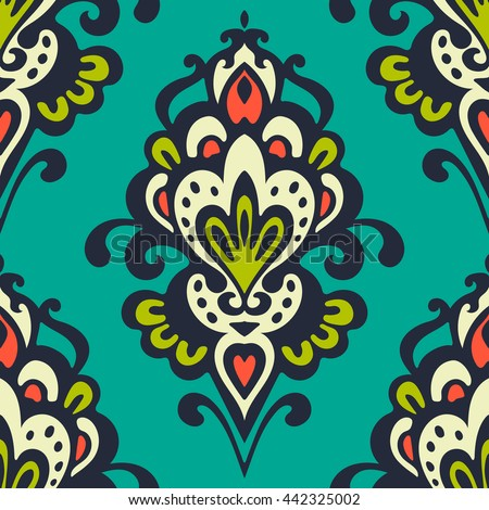 Luxury Damask flower seamless pattern background. Ottoman oriental floral motives