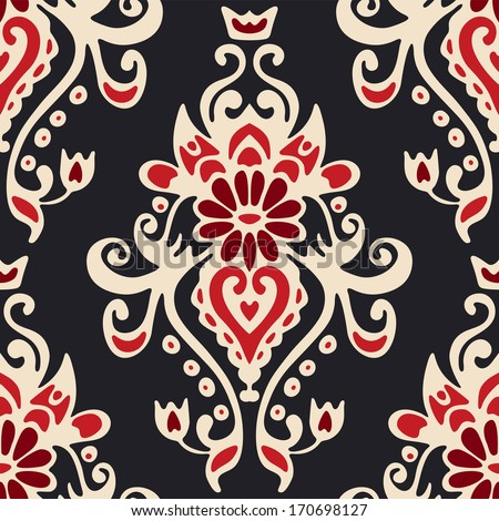 Luxury Damask seamless tiled motif vector pattern