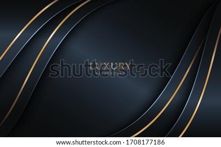 Luxury dark background combine with golden lines element. Foto stock ©